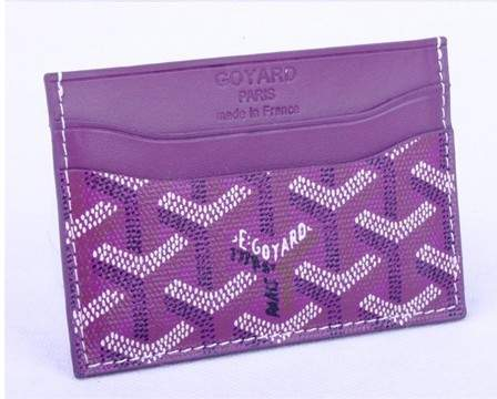 Goyard Canvas and Leather Card Holder 020090 purple