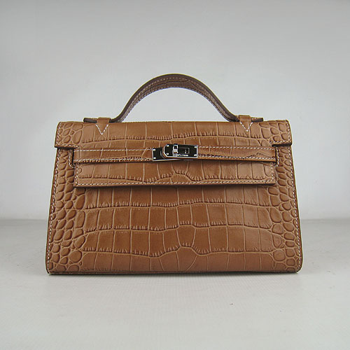 Hermes Mini Kelly 22cm H008 Light Coffee Alligator Leather With Silver Hardware