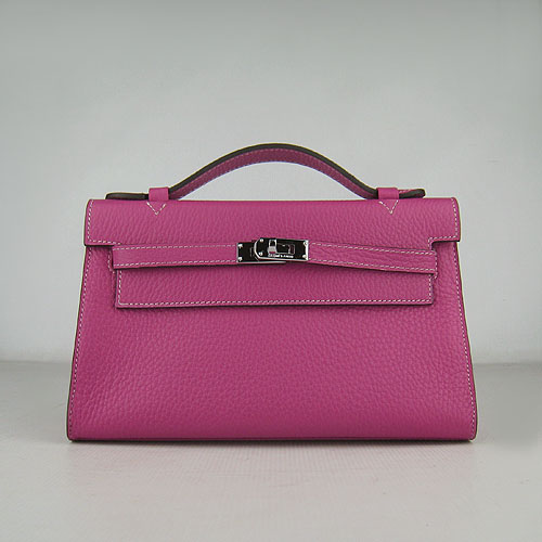 Hermes Mini Kelly 22cm H008 Peach Red Calfskin Leather With Silver Hardware