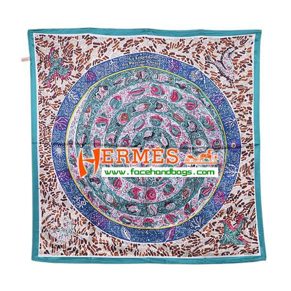 Hermes 100% Silk Square Scarf Blue HESISS 90 x 90