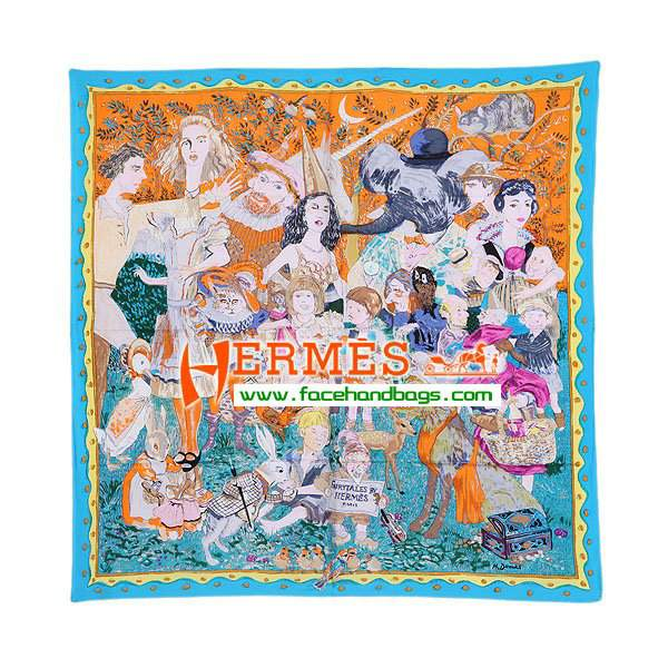Hermes 100% Silk Square Scarf Blue HESISS 87 x 87