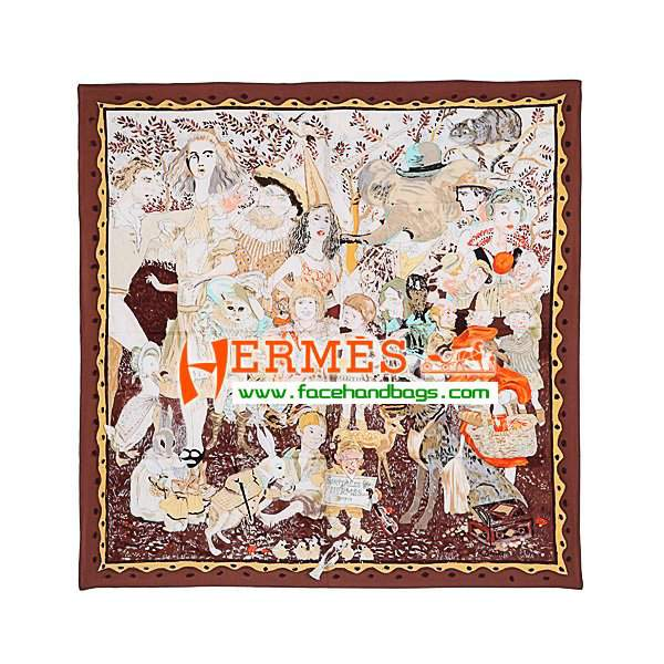 Hermes 100% Silk Square Scarf coffee HESISS 87 x 87