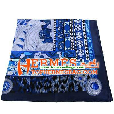 Hermes 100% Silk Square Scarf Blue Puff HESISS 130 x 130