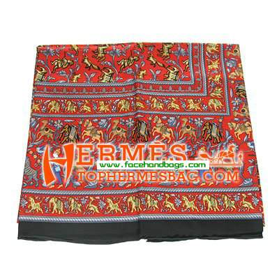 Hermes 100% Silk Square Scarf Red HESISS 130 x 130