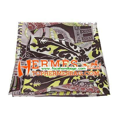 Hermes 100% Silk Square Scarf Coffee HESISS 130 x 130