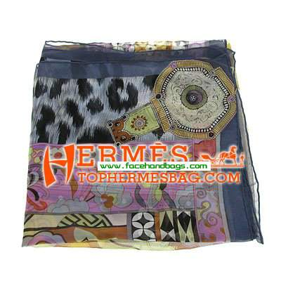Hermes 100% Silk Square Scarf Blue HESISS 135 x 135