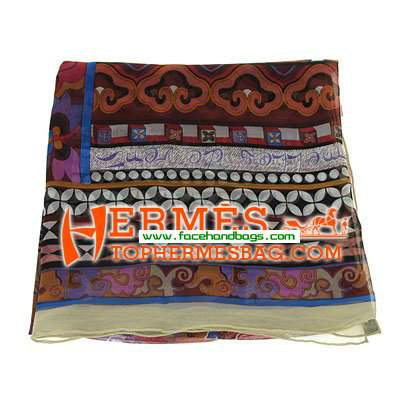 Hermes 100% Silk Square Scarf Coffee HESISS 135 x 135