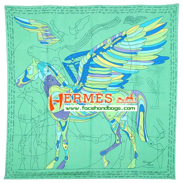 Hermes 100% Silk Square Scarf Green HESISS 130 x 130