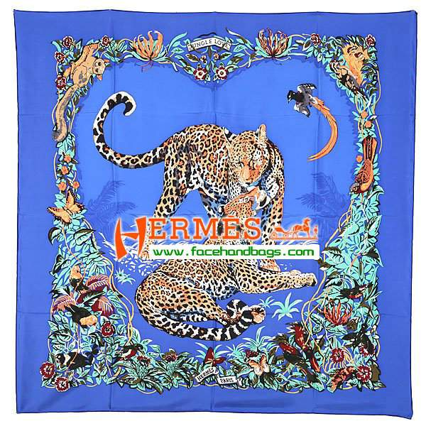 Hermes 100% Silk Square Scarf Blue HESISS 130 x 130