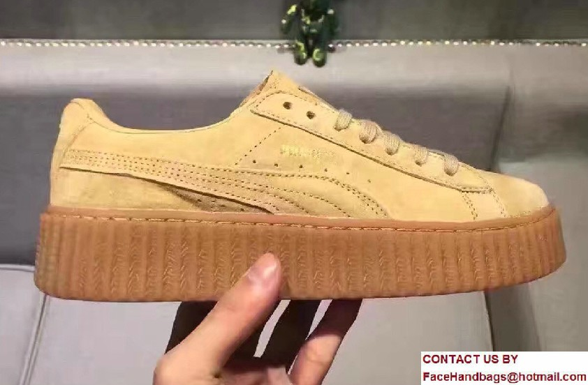 Fenty Puma Suede Creeper Lovers Sneakers Yellow by Rihanna 2016