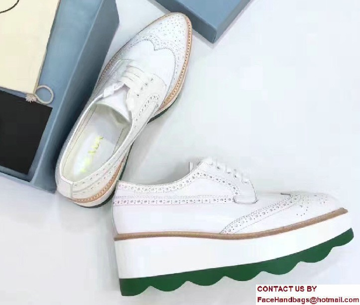 Prada Heel 5cm Wavy Brushed Leather Lace-Up Derby Shoes 1E935G White/Green 2016