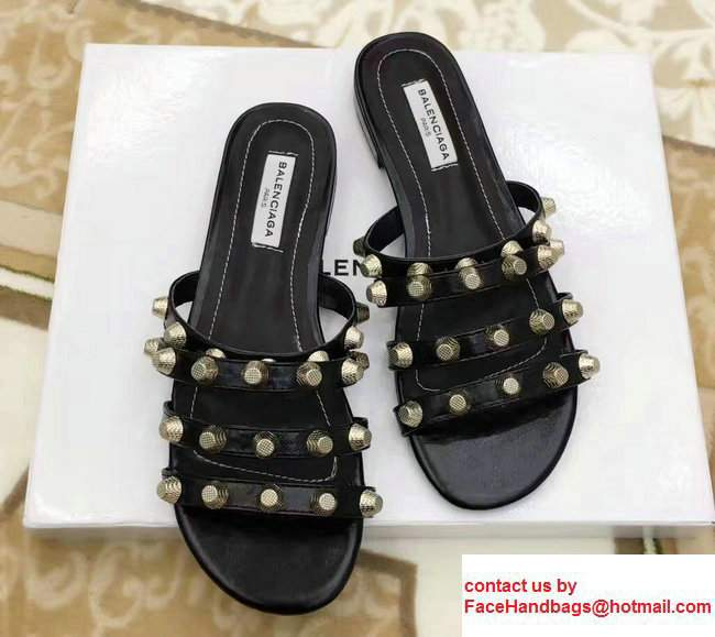 Balenciaga Giant Gold Metal Studs Mules Sandals Black 2017