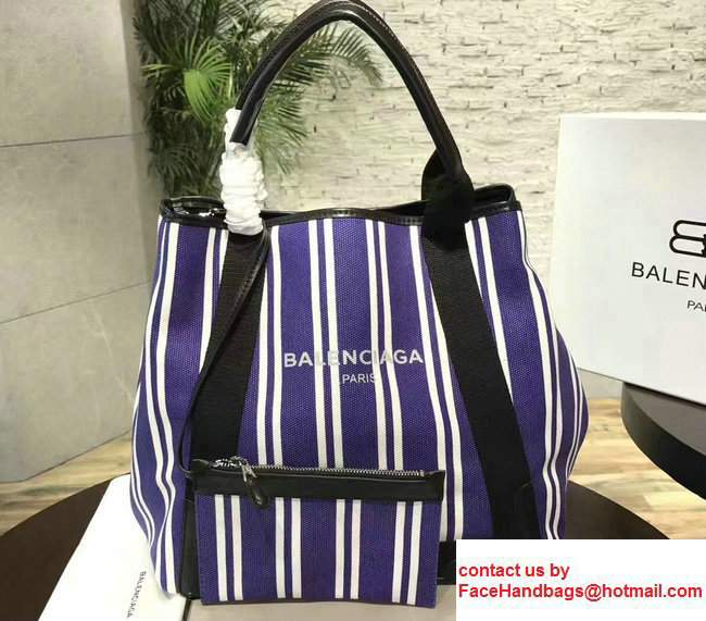 Balenciaga Navy Striped Cabas L Summer Tote Large Bag Blue 2017