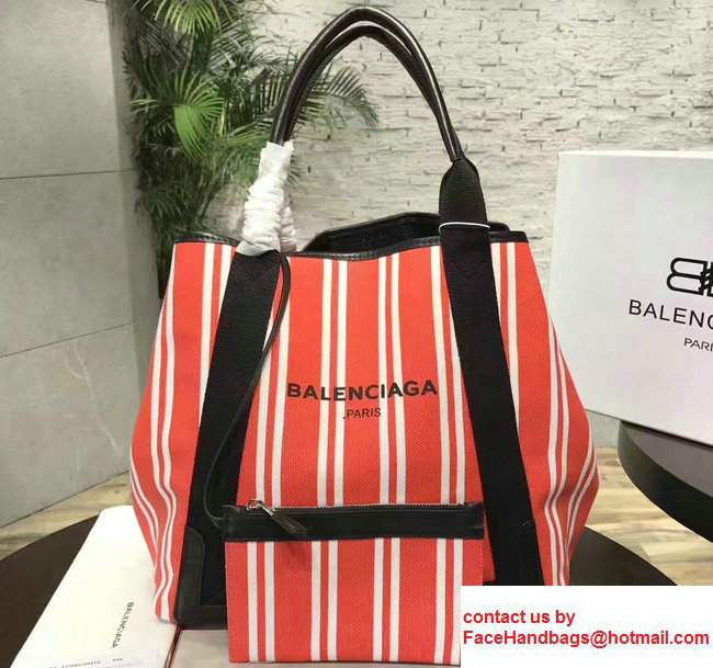 Balenciaga Navy Striped Cabas L Summer Tote Large Bag Red 2017