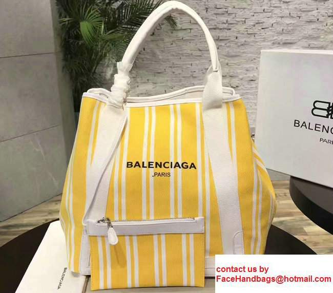 Balenciaga Navy Striped Cabas L Summer Tote Large Bag Yellow 2017
