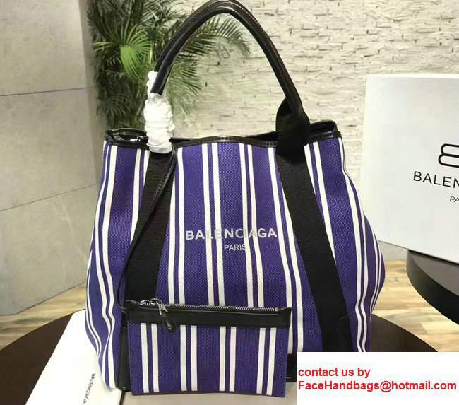 Balenciaga Navy Striped Cabas M Summer Tote Medium Bag Blue 2017
