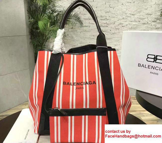 Balenciaga Navy Striped Cabas M Summer Tote Medium Bag Red 2017