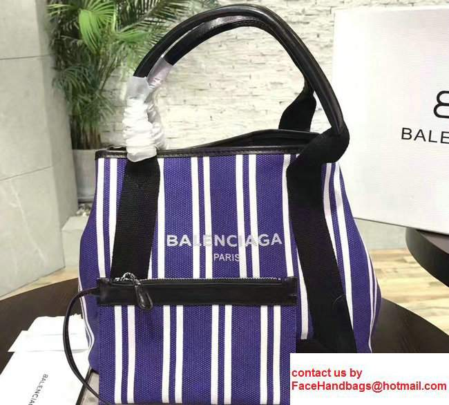 Balenciaga Navy Striped Cabas S Summer Tote Small Bag Blue 2017