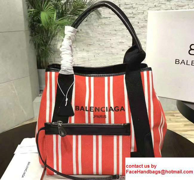 Balenciaga Navy Striped Cabas S Summer Tote Small Bag Red 2017