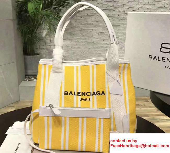 Balenciaga Navy Striped Cabas S Summer Tote Small Bag Yellow 2017
