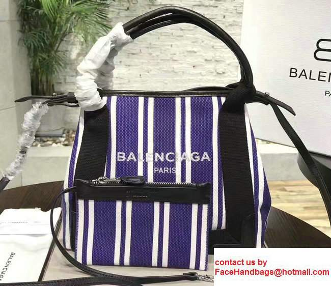 Balenciaga Navy Striped Cabas XS Summer Tote Mini Bag Blue 2017