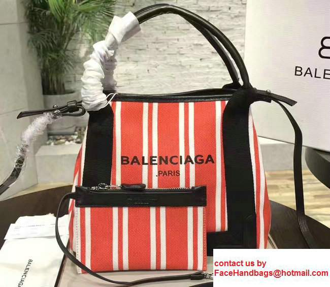 Balenciaga Navy Striped Cabas XS Summer Tote Mini Bag Red 2017