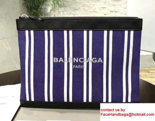 Balenciaga Navy Striped Canvas Clip Clutch Pouch Medium Bag Blue 2017