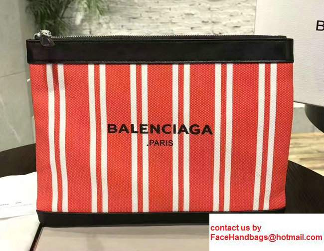 Balenciaga Navy Striped Canvas Clip Clutch Pouch Medium Bag Red 2017