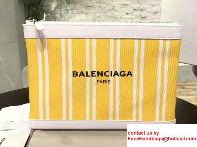Balenciaga Navy Striped Canvas Clip Clutch Pouch Medium Bag Yellow 2017