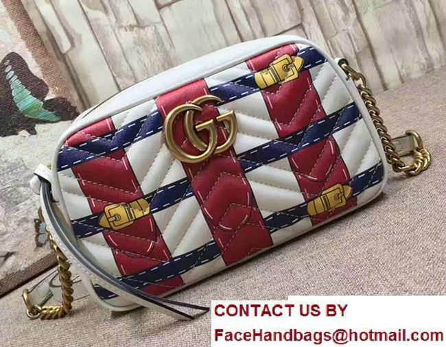 Gucci GG Marmont Matelasse Chevron Shoulder Small Bag 447632 Guccighost Red/White 2017