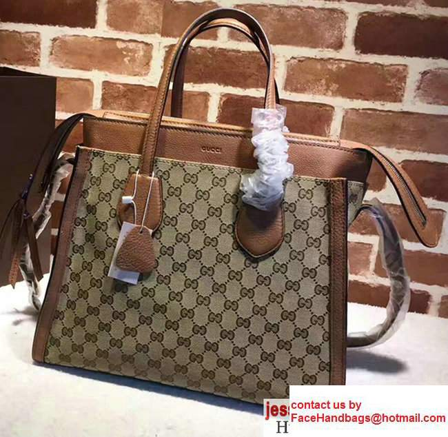 Gucci GG Supreme Tote With Top Handle 370822 Brown 2017