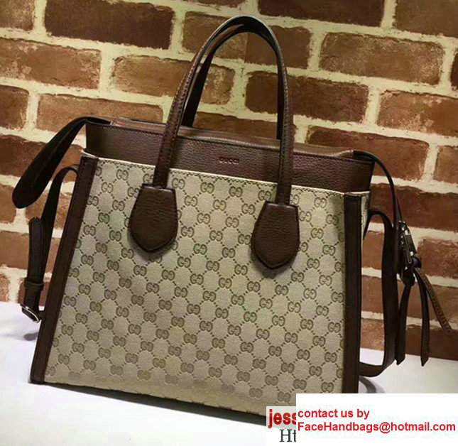 Gucci GG Supreme Tote With Top Handle 370822 Dark Coffee 2017