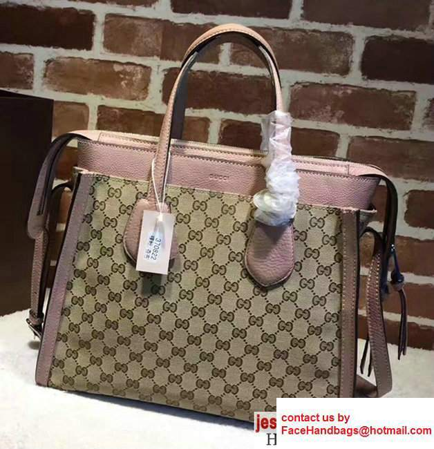 Gucci GG Supreme Tote With Top Handle 370822 Pink 2017