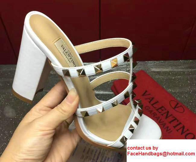 Valentino Sheepskin Heel 9.5cm Rockstud Slide Sandals White 2017