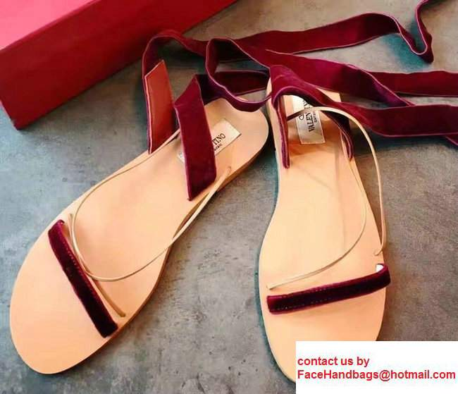 Valentino Velvet Criss-Cross Sandals Dark Red 2017