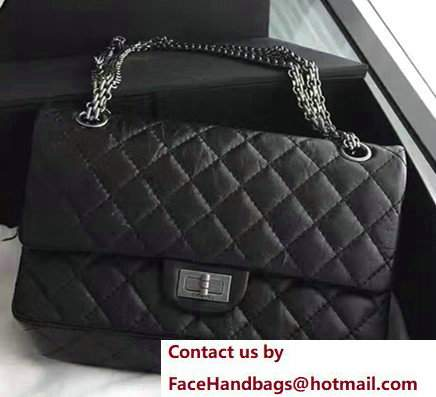 Chanel 2.55 Reissue Size 225 Flap Bag Black With Silver Hardware In Original Leather