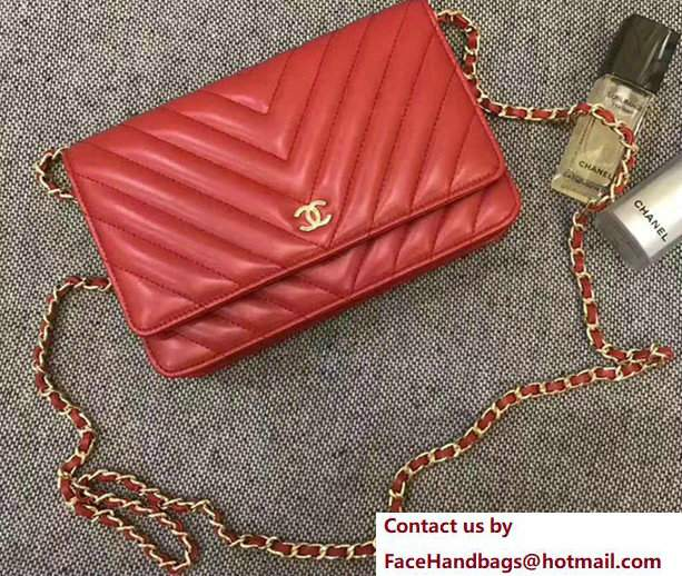 Chanel Chevron Wallet On Chain WOC Bag Red/Gold