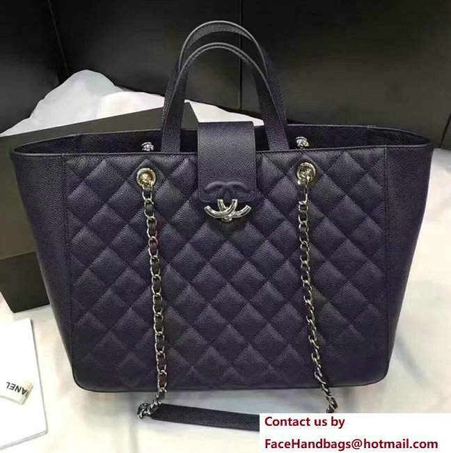 Chanel Grained Calfskin Large Shopping Bag Navy Blue A98665 2017