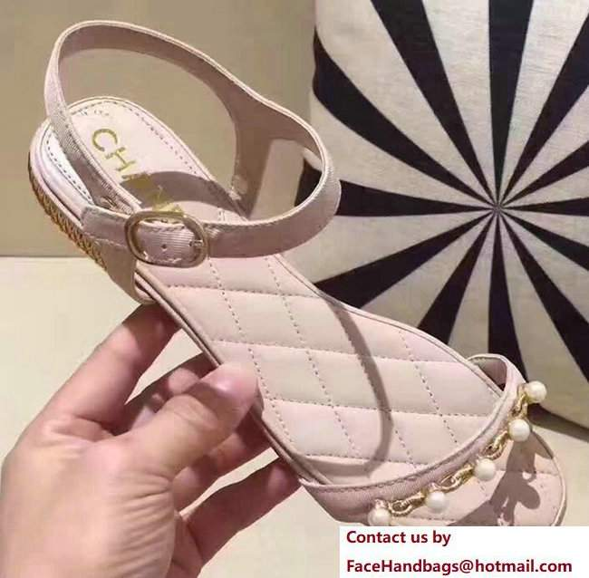 Chanel Heel 2cm Patent Leather With Pearl Design Flat Scandals Apricot 2017