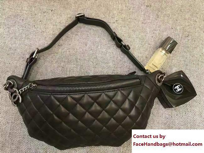 chanel black fanny pack a94102