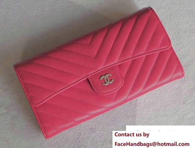 Chanel Chevron Sheepskin Flap Wallet Fuchsia/Silver 2017