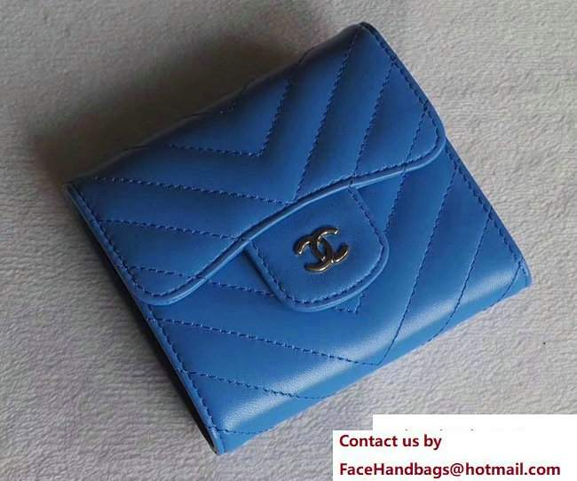Chanel Chevron Sheepskin Small Flap Wallet Blue/Silver 2017