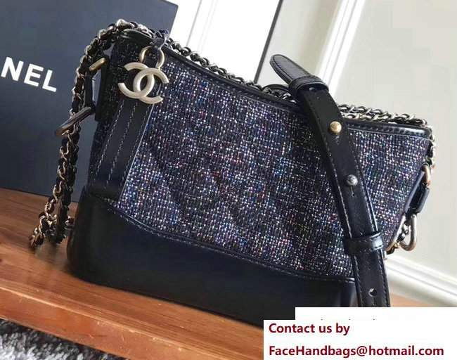 Chanel Tweed/Calfskin Gabrielle Small Hobo Bag A91810 Black/Multicolor 2017