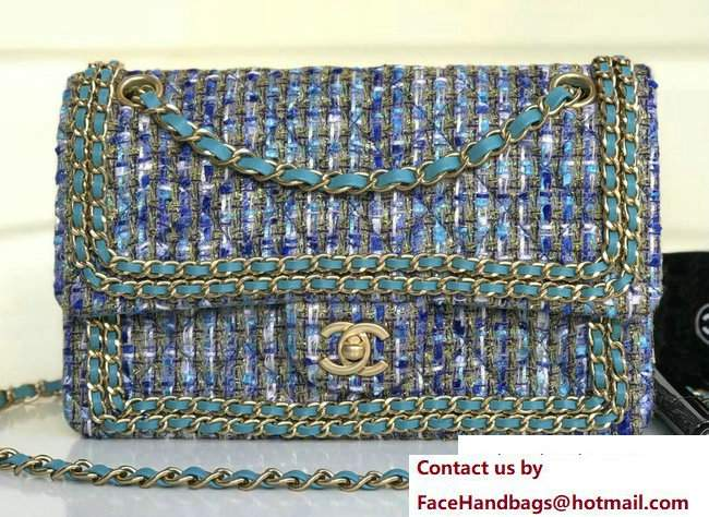 Chanel Tweed Classic Flap Bag A1112 Chain Around Turquoise 2018