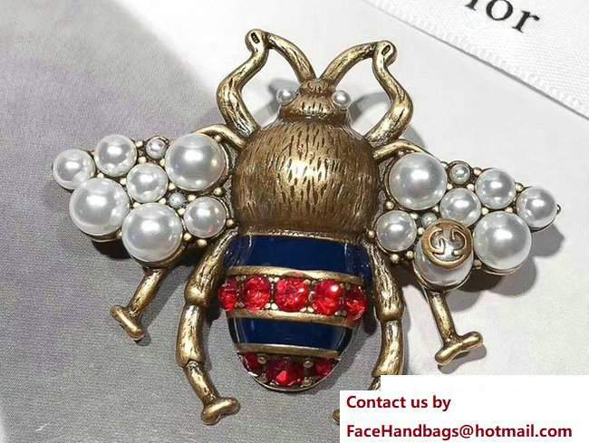 Gucci Bee Brooch With Crystals And Pearls 491611