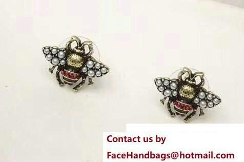 Gucci Bee Earrings With Pearls