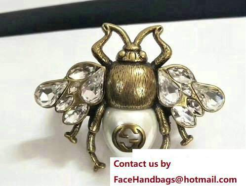 Gucci Bee Ring With Crystals And Pearl 493990