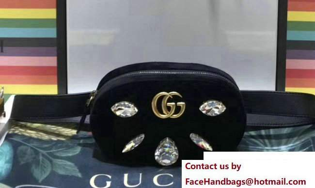 Gucci Chevron Velvet GG Marmont Belt Bag 476434 Black 2017