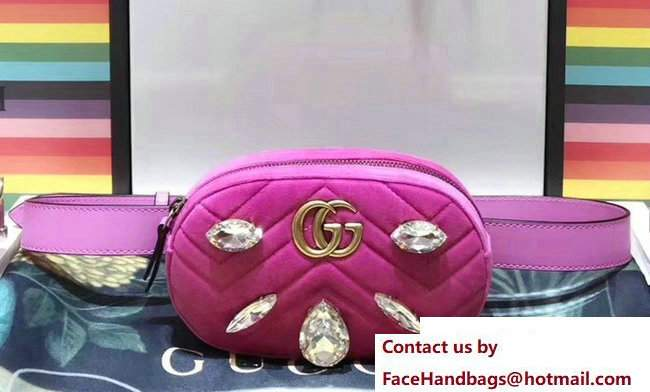 Gucci Chevron Velvet GG Marmont Belt Bag 476434 Pink 2017