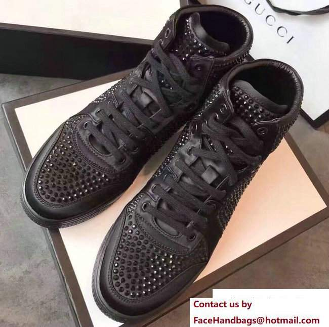 Gucci Crystal Embellished Sneakers Black 2017